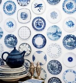 Oer Hollands Delfts blauw behang