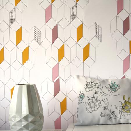 Behang met een mix van bloemen en grafisch minimalistisch en po tisch behang ide en tips en - Behang grafisch ontwerp ...